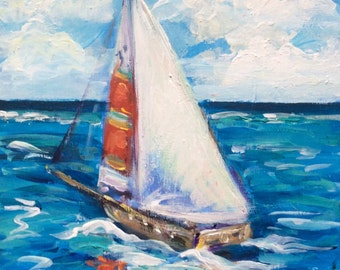 Sailboat  Painting Sailing Painting seascape  original painting 6 x 6""