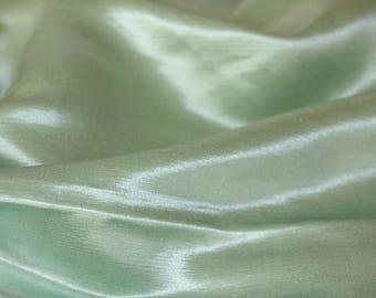 Green Silk Satin Cloth -Wide Hemp Fabric - 2yd Charmeuse Hempsilk Gender Neutral Baby Blanket Infant Cribset Home Washable Pastel Mint Craft