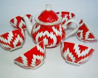 Uzbek  Tea ceremony  SET teapot  6 piala middle  ikat model  excellent quality porcelain Handmade  red
