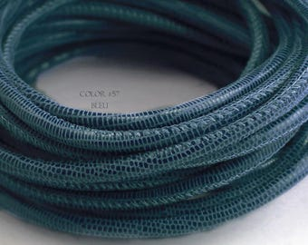 1 foot Denim blue leather cord 4mm lizard print Nappa leather cord 4 mm round stitched leather