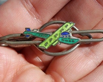 Vintage Art Deco Enameled Airplane Tie Clip Plane Yellow Blue and Green Enamel