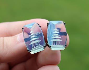Vintage Japanese Sterling Silver Opalite Glass Pagoda Earrings