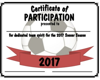 2017 Soccer Sports Certificate - Digital Download Black/Green/Red/Blue Team Colors