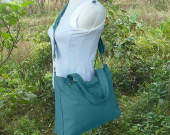 Teal Green canvas crossbody bag, messenger bag, sholder bag, tote bag, school bag