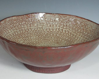 RED AND TAN slab built serving bowl large.
