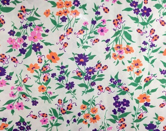 Vintage 60s 70s Fabric Rare Floral Lady Bugs Polyester Silky Fabric