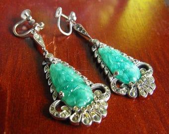 Deco Jadeite glass marcasite earrings  Jade glass silver earrings  Deco 'carved' glass green earrings