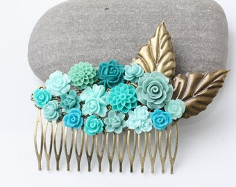 Bridal Hair Comb, teal wedding hair accessories, teal hair comb, rustic wedding, Maid of Honor Gift, teal Hair Accessories, garden wedding