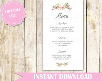 Floral Wedding Menu Card - Bohemian Wedding Menu - Printable Wedding Decoration - Editable Wedding Menu Card Pink Green INSTANT DOWNLOAD