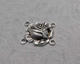 LuxeOrnaments Small Antiqued Sterling Silver Plated Brass Filigree Rose Connector (Qty 2)  AT-6636-4-B