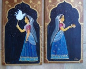 Hand painted gopis on wood Syamarts goddess girls midnight puja altar decorations sacred space