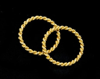 2 of 925 Sterling Silver 24k Gold Vermeil Style Twisted Circle Links, Connectors 18 mm.  Polish Finished   :vm0915