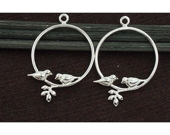 2 of 925 Sterling Silver Bird Charms 20mm.  :tm0166