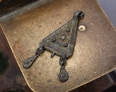Antique brass pendant, charm, connector, finding, dark patina