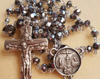 Silver Crystal Rosary Beads