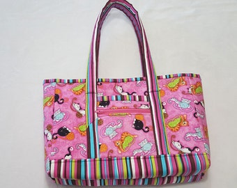 Kitty Cat Print Purse/Small Tote in Pink and other Bright Colors