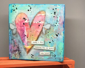 """All My Parts are Loved Wood Panel; 6x6x2"""""""