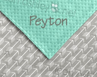 Baby Blanket - Gray Arrows Minky, Mint Minky Dot - BB1