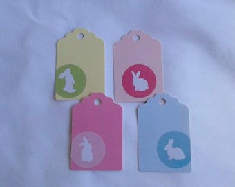 Bunny Tags / Pastel Bunny / Recycled / Up Cycled / Set of 4
