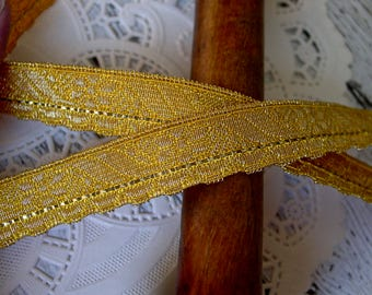 Vintage Bright Metallic Gold French Vestment ribbon Trim, one yard with more available