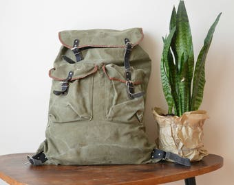 Vintage Backpack Military Green Canvas  1980s Hiking Bag