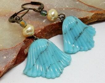 Turquoise Earrings, Shell Earrings, Mermaid Earrings, Pearl Seashell Earrings