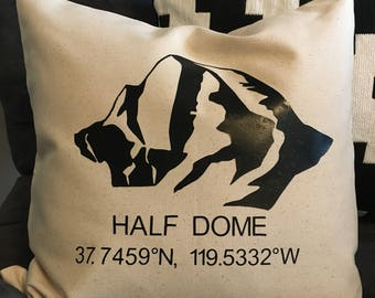 Yosemite Half Dome GPS Pillow 18X18 black on natural canvas