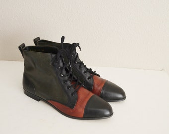vintage leather three toned bootie boot -- womens US size 8