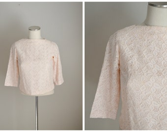 vintage 60s pastel pink lace zip back cropped top -- womens small