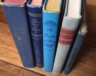 Vintage Set of 5 Books in Blue Tones Including Longfellow for your Library