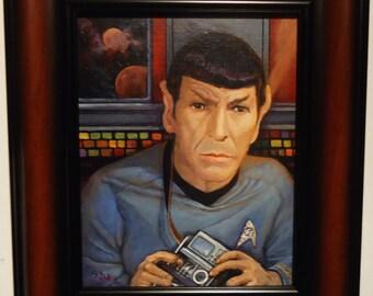 """Star Trek Painting Leonard Nimoy as Spock in Original 1960s Star Trek tv series Spock 8x10"""" framed portrait"""