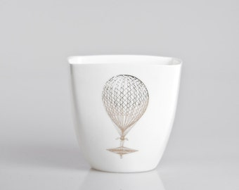 White Porcelain Mug with Vintage Gold Balloon, Milkshake cup, Hot chocolate cup