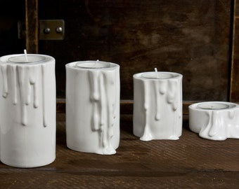 Christmas decorations, White Ceramic Candle Holder, Set of Four Modern Porcelain Candle Holders