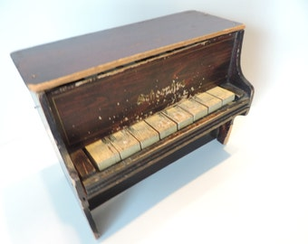 Vintage Childs Table Top Piano Schoeni  Rustic Home Decor Vintage Musical Toy Childs Piano USA Tiny Piano