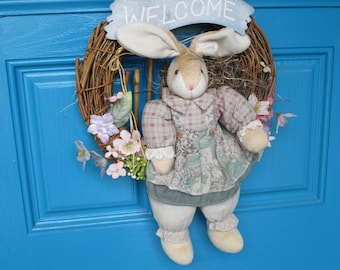 Vintage Grapevine Wreath With Bunny Rabbit and Welcome Sign