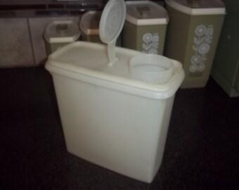 """One Vintage Tupperware Sheer Cereal Keeper 8"""" tall - sheer lid!"""