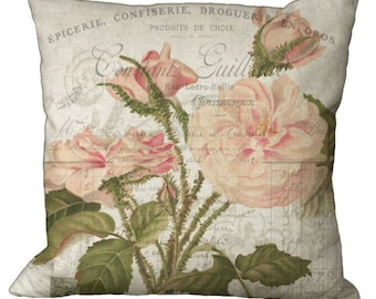 Shabby and Chic Faded Pink Wild Roses in Choice of 14x14 16x16 18x18 20x20 22x22 24x24 26x26 inch Pillow Cover