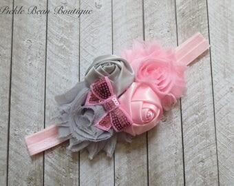 Pink Gray Headband, Hairbow, Baby Headband, Infant Headband, Girls Headband, Hair Bow, Birthday Headband, Grey Head Band