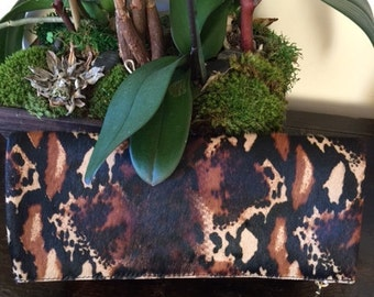 Leather fold/over Clutch 11 x 11 1/2 INCHES