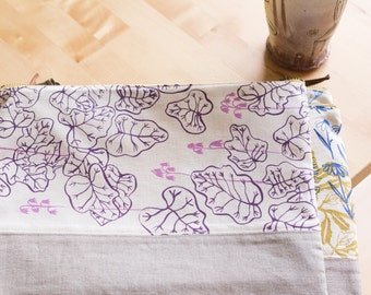 Large Pouch - Heuchera in Lilac, Hand-printed fabric