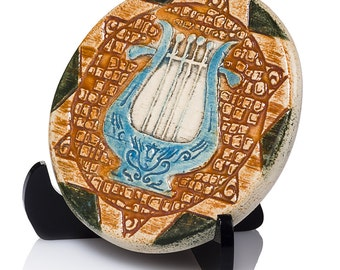 Hand Made Ceramic Tile The Harp Of King David Blessing Of Peace On Your Home  Painted By Hand Art Judaica Gifts Jewish Gifts