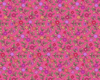 Quilting Shop Hop floral calico pink premium cotton fabric by Bonnie Krebs for Henry Glass - sold per yard