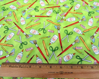 Learning Is Fun School Art Supplies on Green premium cotton fabric from Quilting Treasures - sold by the yard