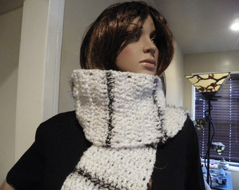 White with Black Fur Lines  Scarf   Very Soft and Thick Scarf   Neck Warmer Ready to Ship