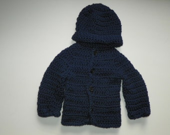 Baby Boy Sweater Set  Navy Trendy Sweater and Beanie Hat Set Size Newborn-24M