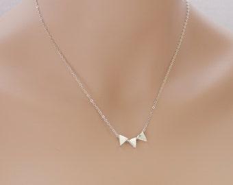 Triangle Necklace, Triangle Beads, Sterling Silver, Geometric Necklace, Triangle Pendant, Silver Triangles, Geometric Jewelry, BeadXS, Gift