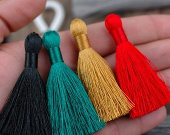 "Festive Winter: Mixed Color Tassel Pack , 2"" Inch Silky Tassels, Black, Red, Buff, Green , Winter Holiday Jewelry Making Supply,  4 Pieces"
