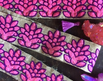 """Pink Purple Sparkle Blossom Embroidered Trim, Ribbon, Sari Border from India, 2 1/8"""" x 1 yard, Bright Spring Summer Craft, Decorating Supply"""