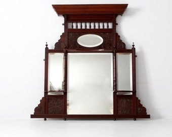 SALE Victorian over-mantle mirror, beveled mirror carved wood mantle