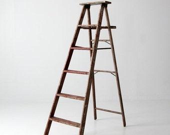 SALE wood ladder, vintage red painter's ladder, 5.5 ft decorative ladder
